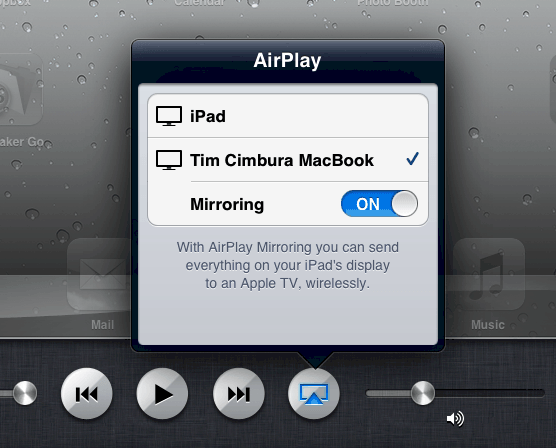 how to use airplay on ipad 1