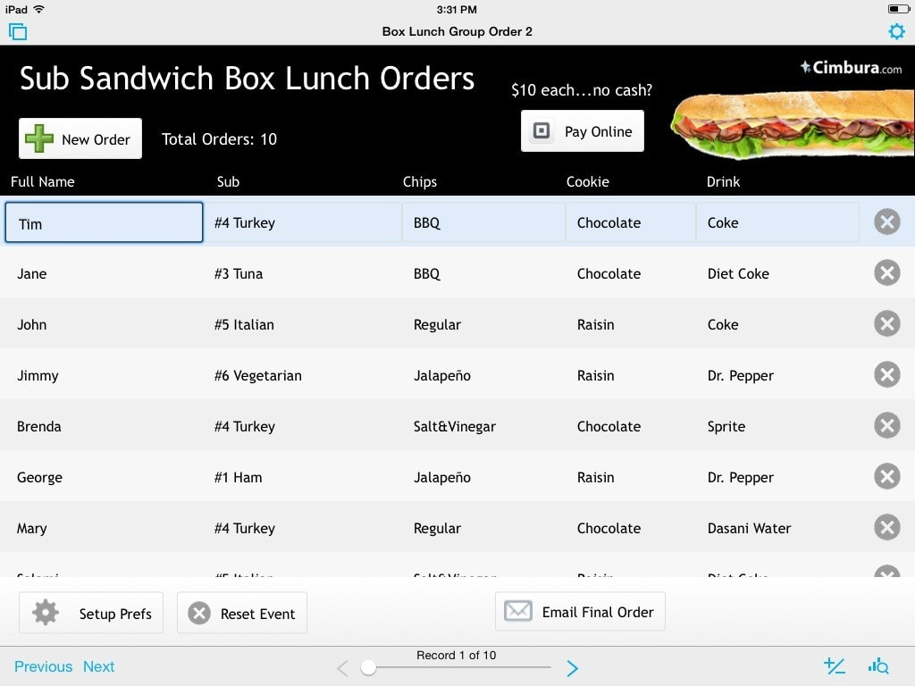 box lunch orders 1