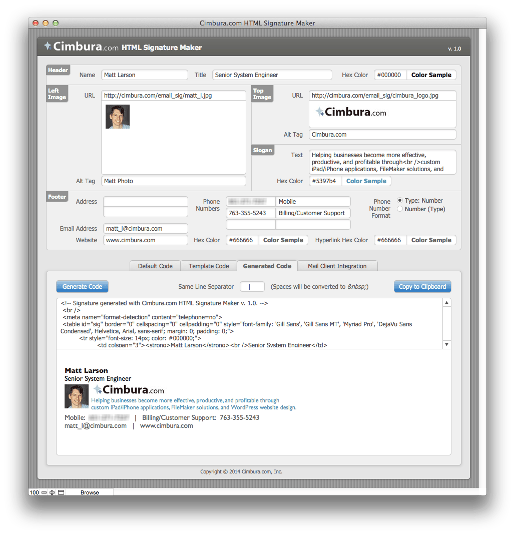 HTML Email Signatures and Free FileMaker Tool to Create Them ...