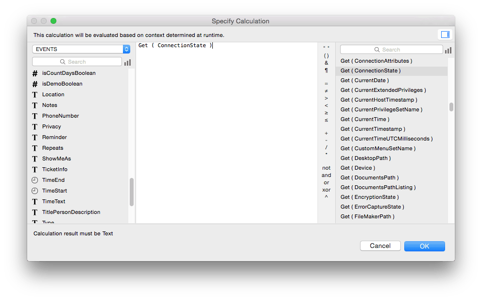 FileMaker 14 Calculation Dialog