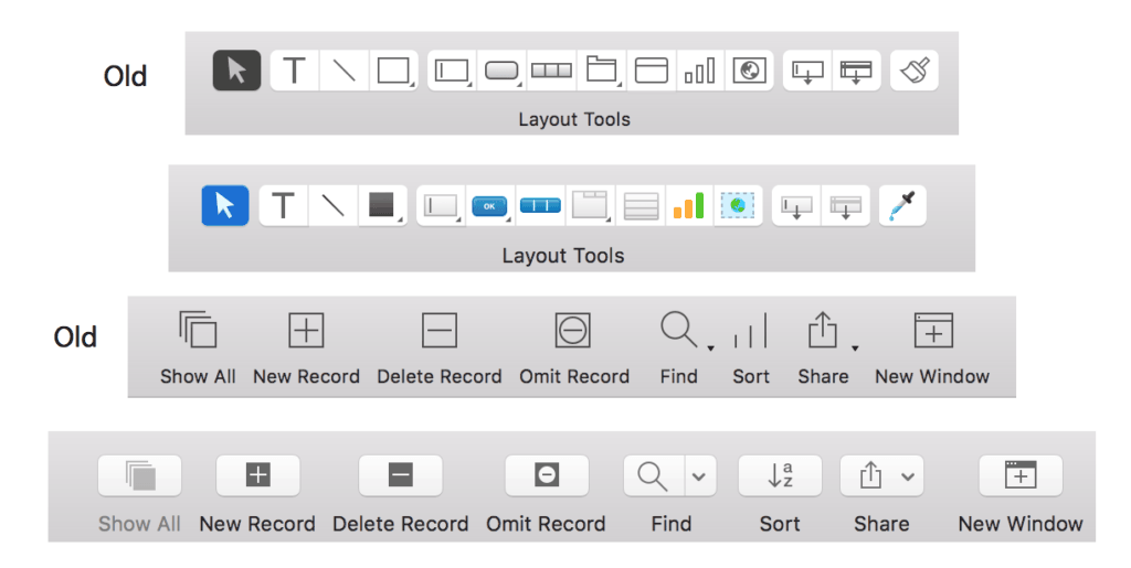 FileMaker Toolbar Icons