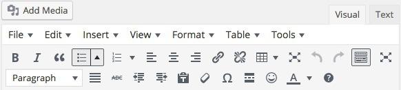 The Visual Editor Toolbar in WordPress