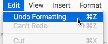 undo formatting