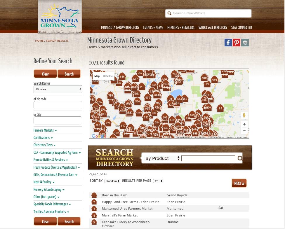 Minnesota Grown Search Page