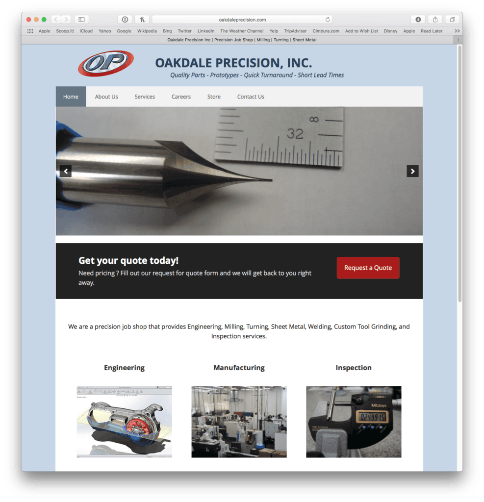 Oakdale Precision, Inc.'s New WordPress Bridges the Gap Between WordPress and FileMaker 1