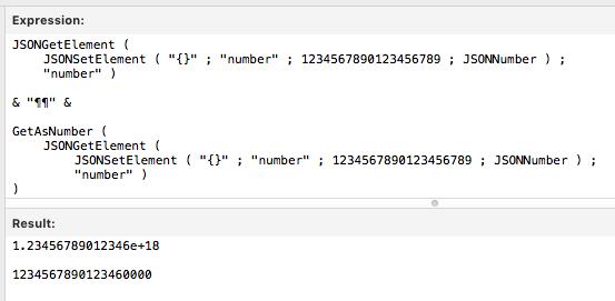 FileMaker JSON Number test
