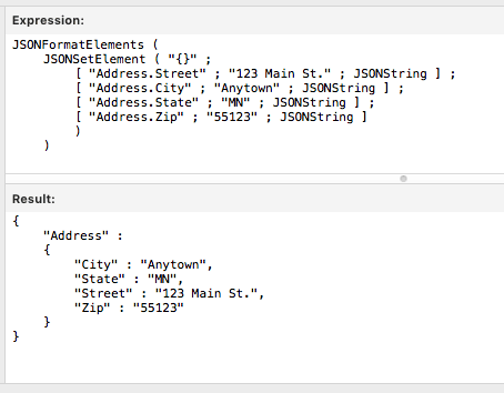 FileMaker JSONFormat example