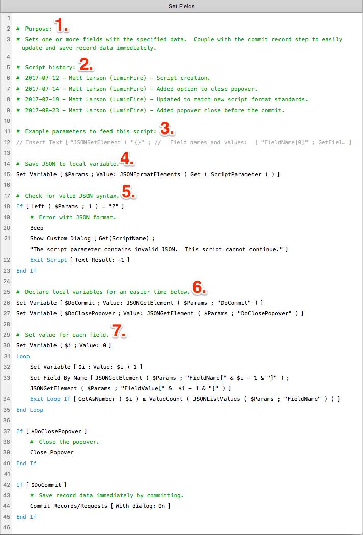 LuminFire JSON Script Parameters example