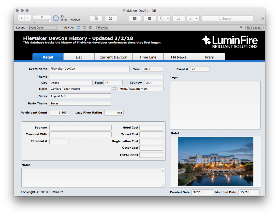FileMaker DevCon database