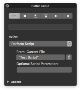 FileMaker 17 Button Setup Window Makes Changing Script Parameters Easier