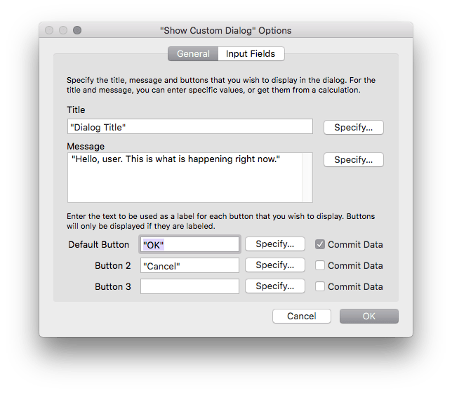 Show Custom Dialog Options