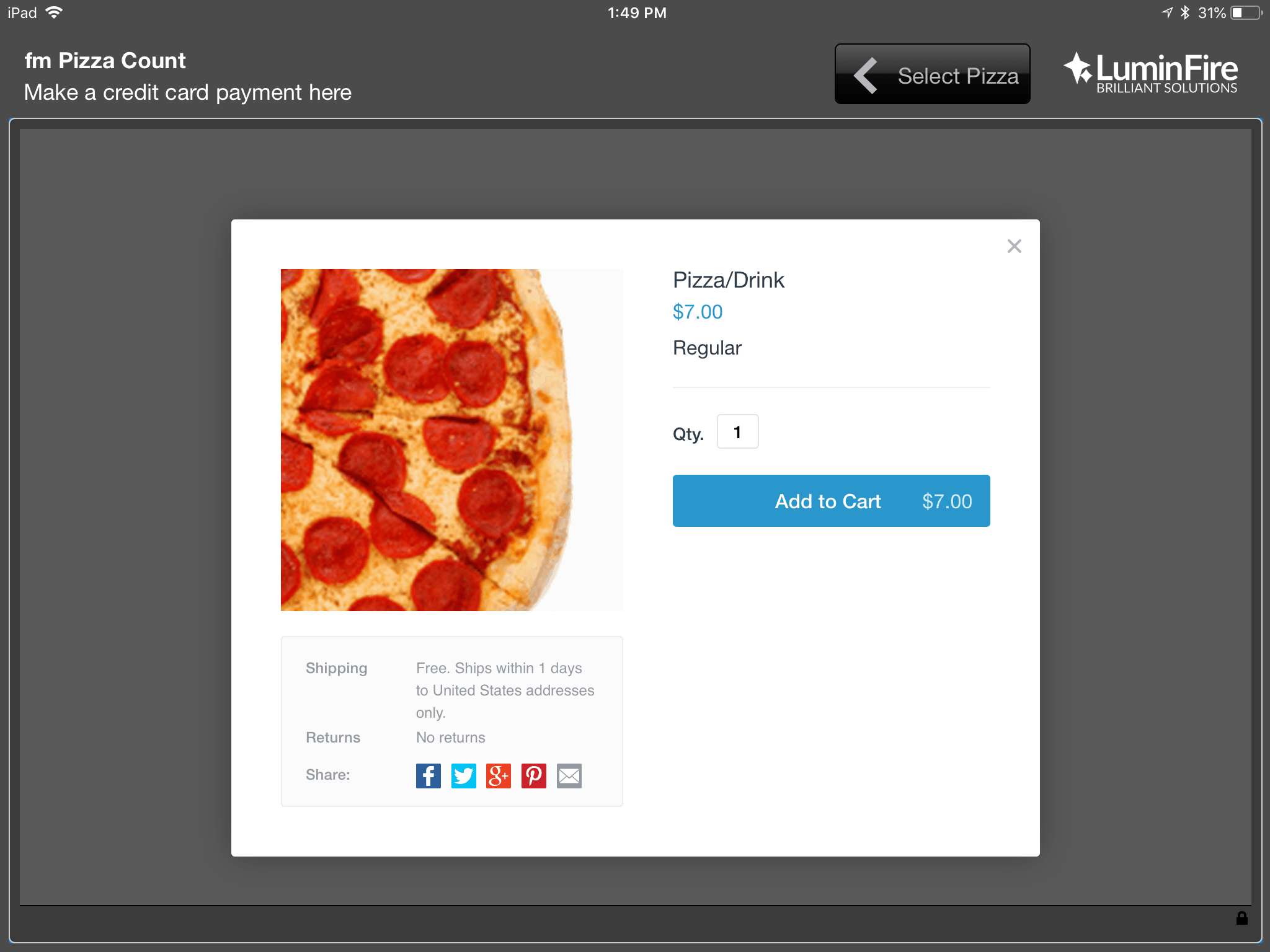 FileMaker Go Pizza Counter for iPad 2.0 1